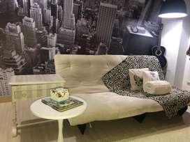 Sofá cama/mueble/Futón color beige