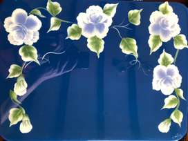 Individuales de flores en recina