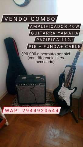Ampli 40w + guitarra yamaha pacifica 112j + pie + cable + funda