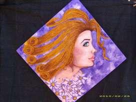 Cuadro pintado en acrilico -collage