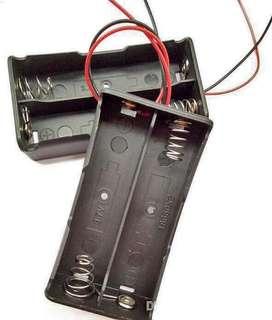 Caja Slot Porta Baterías 18650 Para 2 Baterias Con Cableado