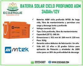 BATERIA SOLAR MTEK 340AH 12V CICLO PROFUNDO