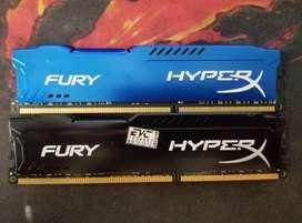Memoria Fury Hyperx Ram DDR3 8gb 1600mhz c/u