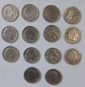 Vendo lote de 14 monedas de 10 centavos de Colombia en buen estado