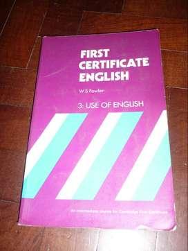 FIRST CERTIFICATE ENGLISH 3 USE OF ENGLISH . FOWLER LIBRO EN INGLES 1974