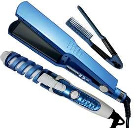 Combo plancha ancha digital 1 3/4 + Rizador Curl Perfect + Peine