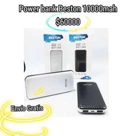 POWER BANK BESTON 052, 10000 MaH. 3 A 4 CARGAS INDICADOR DIGITAL