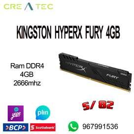 Memoria ram ddr4 4gb kingston hyperx fury 2666mhz nuevo sellado