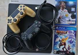 PLAY STATION 4 SLIM 500 GB+ 2 CONTROLES ORIGINALES + 2 JUEGOS