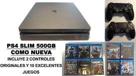 Ps4 - Playstation 4 Slim - 2 Dualshock Controles - 10 Juegos