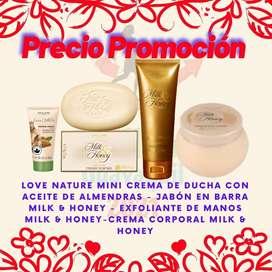Jabón en barra - exfoliante - crema corporal Milk and Honey -Leche y Miel - Set Precio Promoción