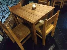 Mesas y sillas para negocio rústicas de cedro