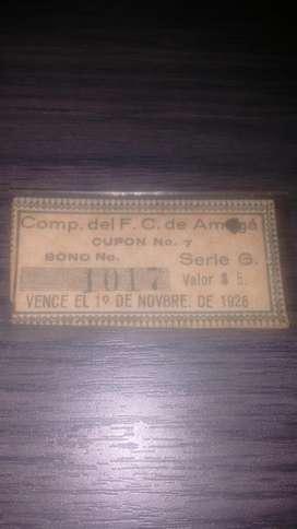 Tiquete Ferrocarril 1926 Casi 100 Años