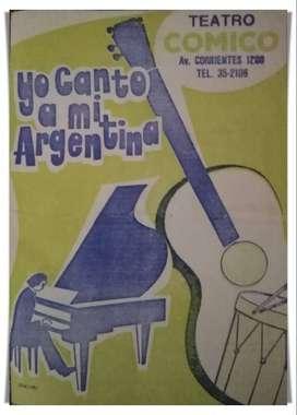 Programa de la obra musical Yo Canto a mi Argentina con Beba Bidart y gran elenco