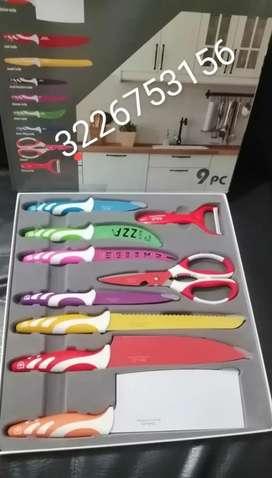 Juego de cuchillos nueve piezas diseño suizo