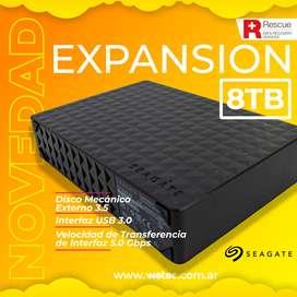 DISCO DURO EXTERNO SEGATE EXPANSION 8TB. Edición con Rescue, data recovery services included.
