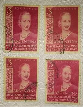 Estampilla Eva Perón 3 Pesos Argentina 1954