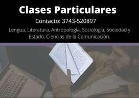 Clases particulares de lengua y literatura, comunicaciones, sociología, portugués y francés.