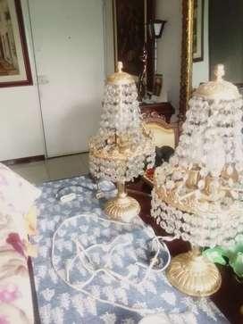 Dos lámparas mesa de noche. Cristal austriaco. Baño de. Oro