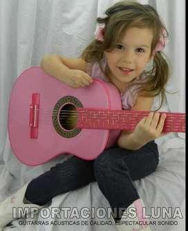 guitarraa acusticas importadas color rosada
