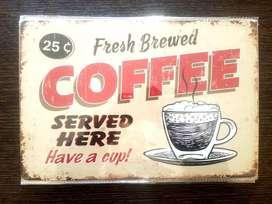 CAFE - PLACA METALICA.