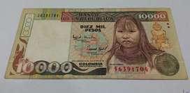 Billete $10.000 Indígena Embera Año 1994
