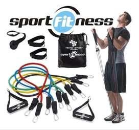 set de bandas tubulares sport fitness- bandas elasticas para ejercicios