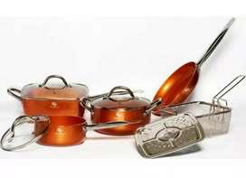 Bateria de ollas  en ceramica copper 9 piezas schaffhausen