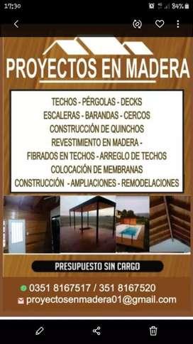 Techos de maderas (PROYECTOS EN MADERAS)$1.200 M2