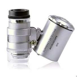 Mini lupa microscopio 60X con luz LED