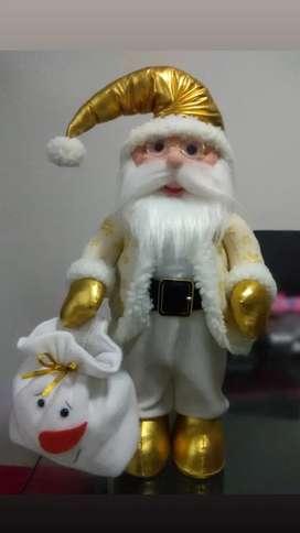 Santa navideño, 60cm de alto, rojo/negro y beige/dorado