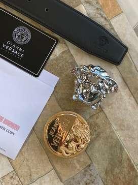 Correas cinturon doble hebilla Versace Cuero alta gama