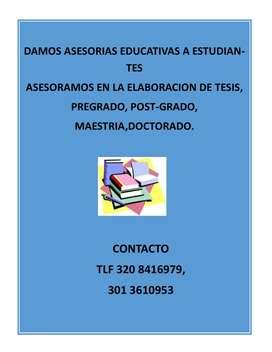Asesoría de Tesis, y o talleres de pre grado, post grado, master, Doctorado