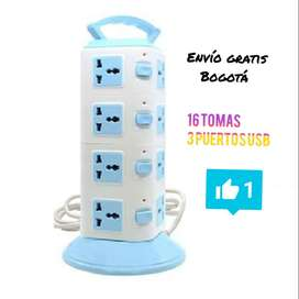 MULTITOMA vertical 16 tomas con 3 puertos usb incluye switches