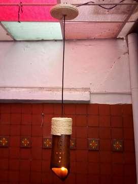 Lampara de techo en guadua