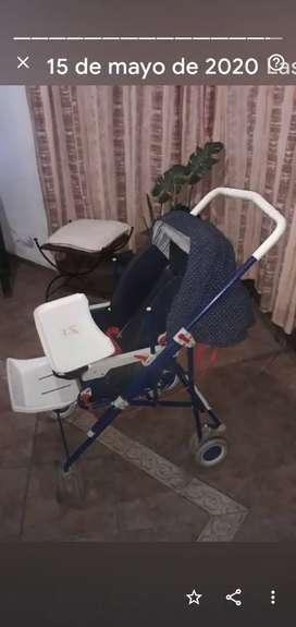 Coche BEBESIT, se hace Moisés portátil, silla de comer, mira hacia ambos lados, capota, cubre coche, 5 posiciones