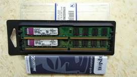 Memorias RAM DDR2 4GB, 2 x 2GB 800 Mhz. Kingston Dual Channel c/u.