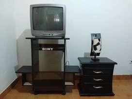 TV Convencional, mueble y mesa de noche.