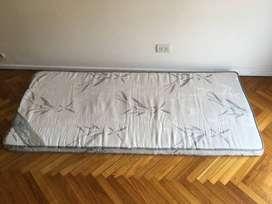 Viscolastico pillow top espuma 'memoria', 9cm espesor, desmontable para colchón, 1 plaza