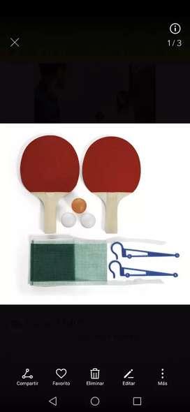 Kit completo de ping pong con raquetas, malla y 3 bolas