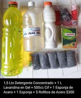 Detergente - Lavandina en Gel - Limpiador Cremoso - Esponja