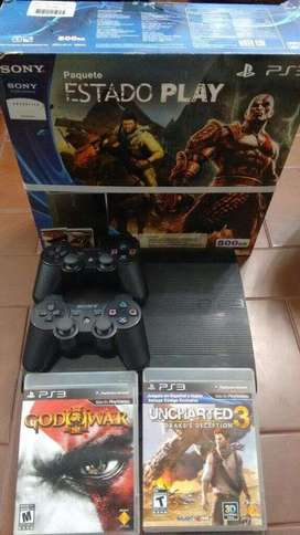 PlayStation 3 Slim 500 GB + Joysticks + Juegos