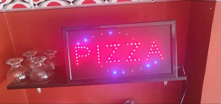Aviso Led Luminoso Pizza  intermitente