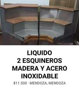 LIQUIDO 2 MUEBLES ESQUINEROS MADERA Y ACERO INOXIDABLE