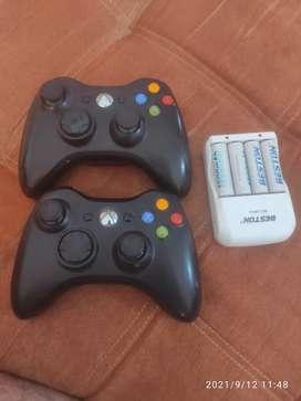 Combo 2 controles de xbox 360 inalambrico + set de pilas recargables