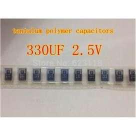 Capacitor SMD de tantalio polímero 2.5 V 330 UF POSCAP 330 UF 2.5 V
