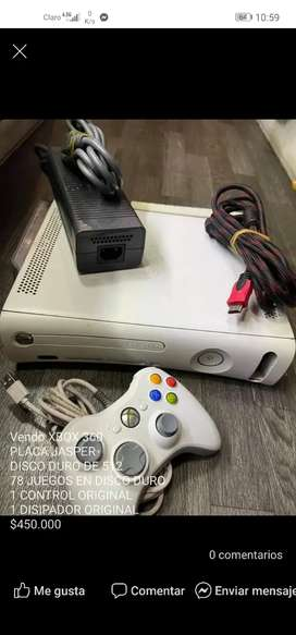 Xbox 360 Vendo XBOX 360 PLACA JASPER DISCO DURO DE 512 78 JUEGOS EN DISCO DURO
