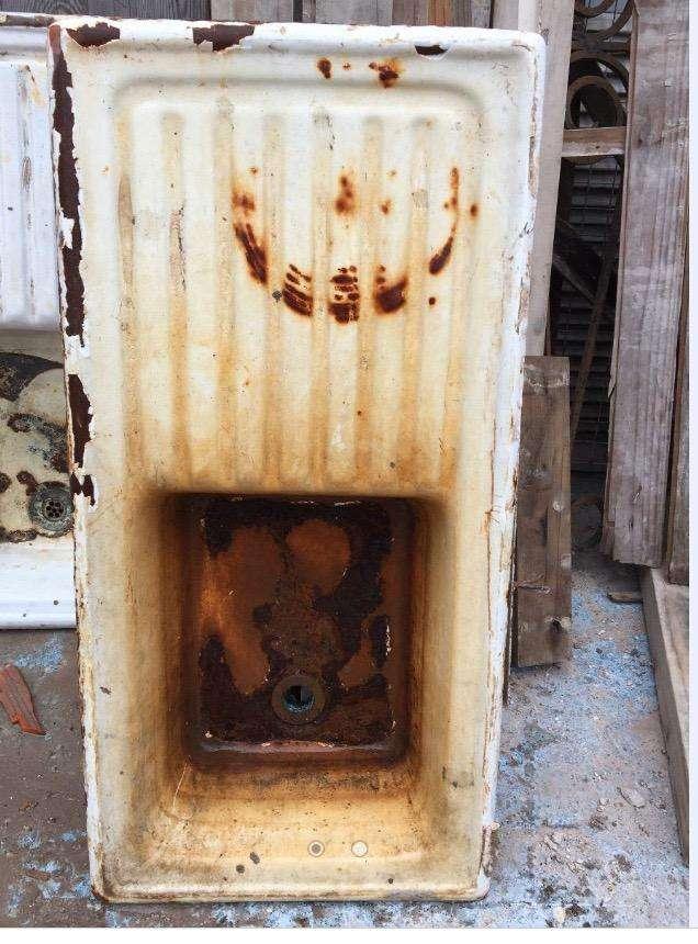 Pileta De Cocina Enlozada Con Escurridor Antigua  P/reciclar 0