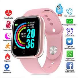 Reloj inteligente smartwatch para dama rosa mensajes WhatsApp monitor de salud