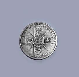 Moneda de Reino Unido, plata 500,  1 florin, 1920, VG